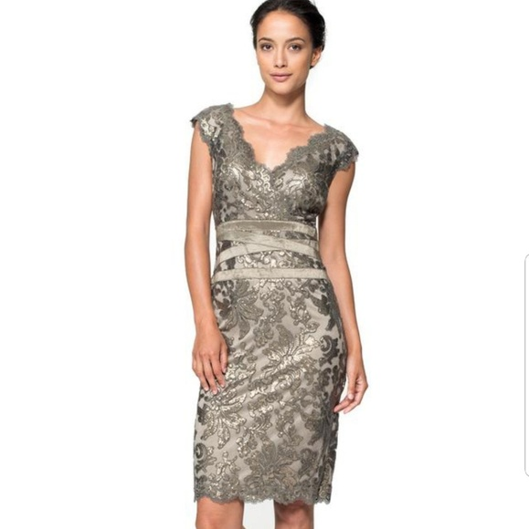 6432ec4c1b4 Tadashi Shoji sequin and lace sheath dress. M 5ada0e04fcdc31f7d6166ad8